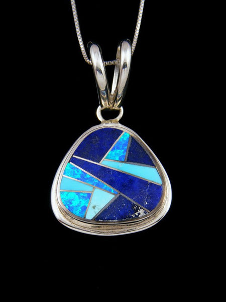 Sterling Silver Navajo Lapis and Turquoise Inlay Pendant