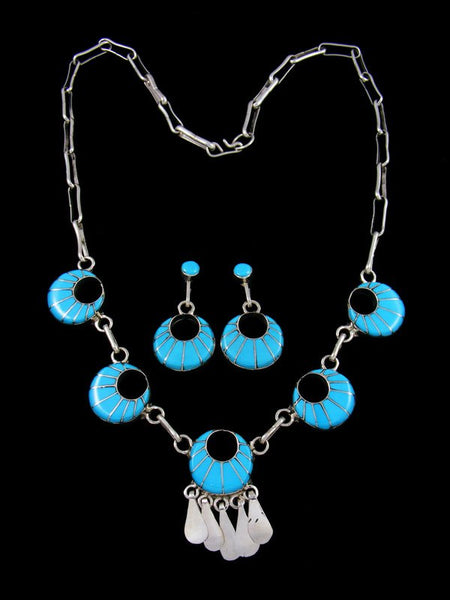 Native American Zuni Inlay Turquoise Necklace Set