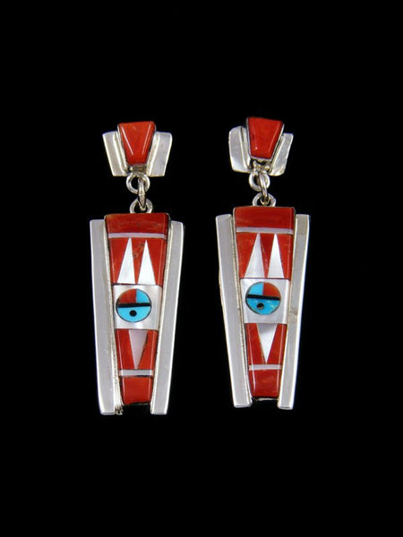 Coral Zuni Inlay Sunface Post Earrings