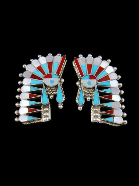 Turquoise and Coral Chief Zuni Inlay Post Earrings