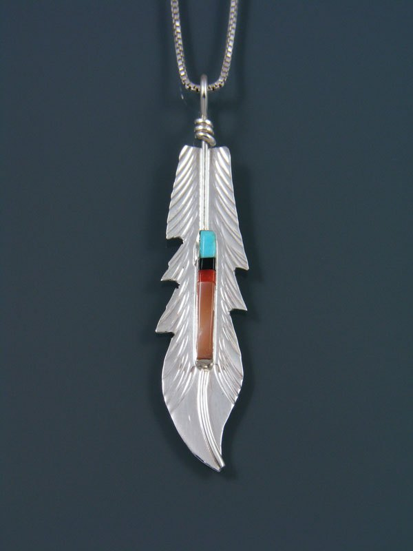 Native American Sterling Silver Turquoise Inlay Feather Pendant