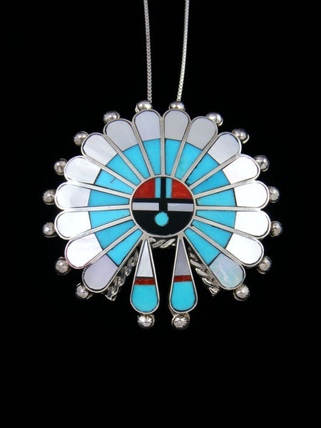 Native American Mother of Pearl Zuni Inlay Sunface Pin Pendant