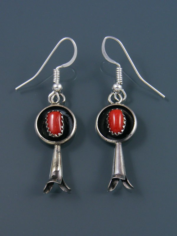 Navajo Sterling Silver Coral Earrings with Flute