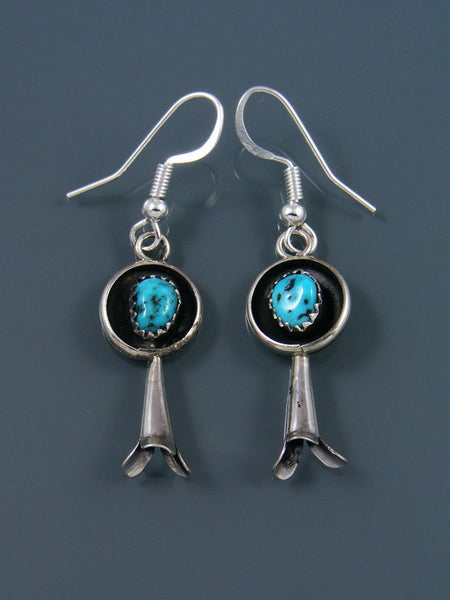 Navajo Sterling Silver Turquoise Earrings with Flute