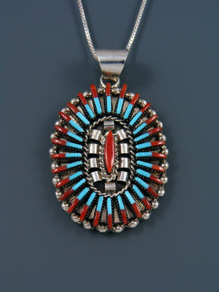Coral and Turquoise Needlepoint Sterling Silver Zuni Pendant