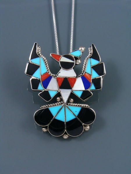 Sterling Silver Zuni Thunderbird Inlay Pin/Pendant