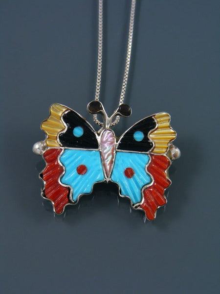 Native American Zuni Inlay Turquoise and Coral Butterfly Pin Pendant