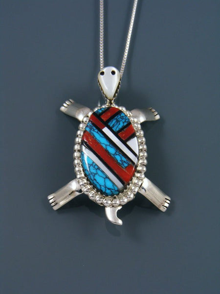 Native American Sterling Silver Zuni Inlay Turtle Pendant