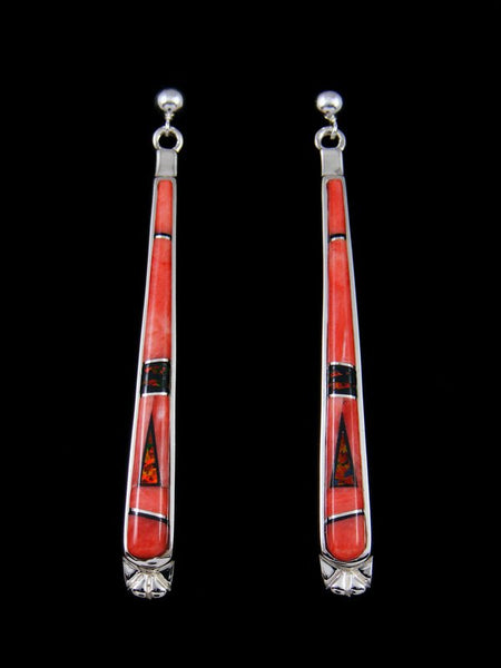 Native American Inlay Spiny Oyster Post Earrings