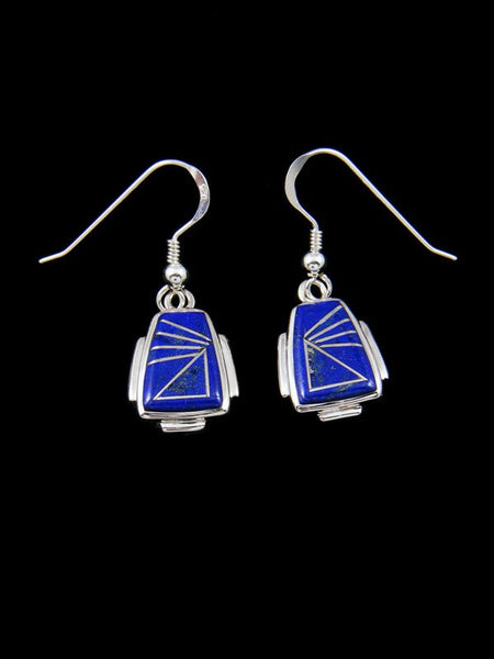 Native American Lapis Inlay Dangle Earrings
