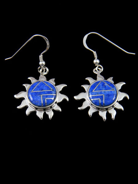 Native American Denim Lapis Inlay Sun Earrings