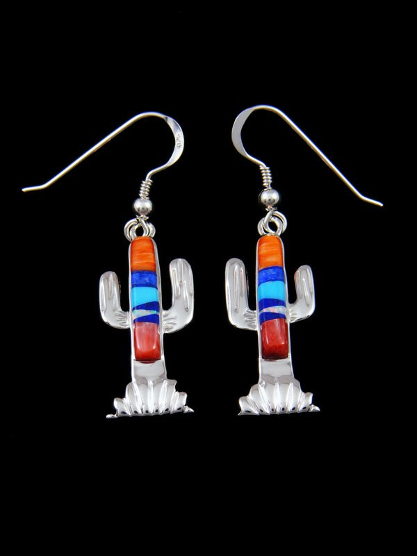 Native American Inlay Cactus Spiny Oyster and Turquoise Earrings