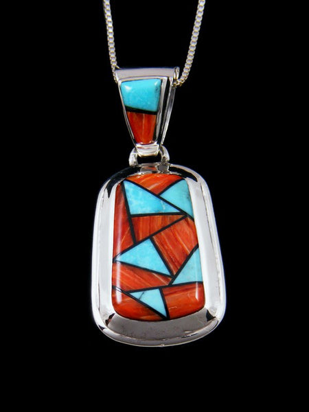 Native American Spiny Oyster and Turquoise Inlay Pendant