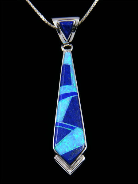 Navajo Sterling Silver Blue Lapis Inlay Pendant