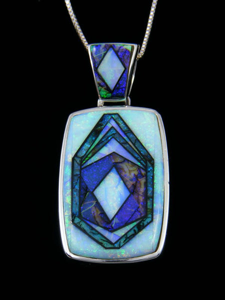 Native American Inlay Cultured Opal Reversible Pendant