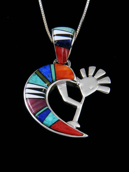 Navajo Inlay Spiny Oyster Reversible Kokopelli Pendant
