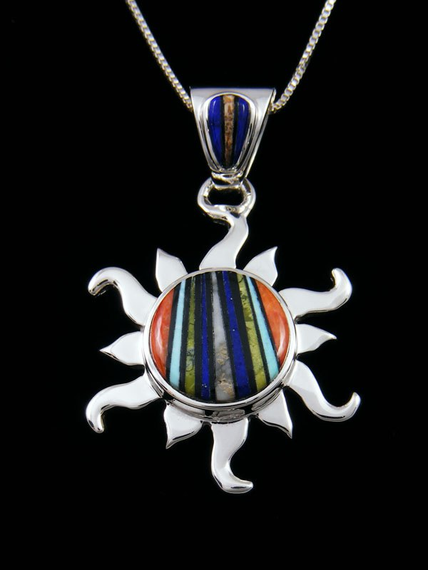 Native American Multi Stone Inlay Sun Pendant