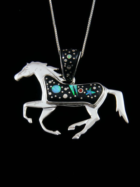 Native American Inlay Night Sky Horse Reversible Pendant