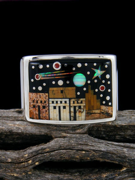 Night Sky Pueblo Scene Inlay Ring Size 11 1/2