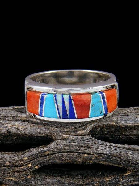 Multistone Inlay Ring, Size 10