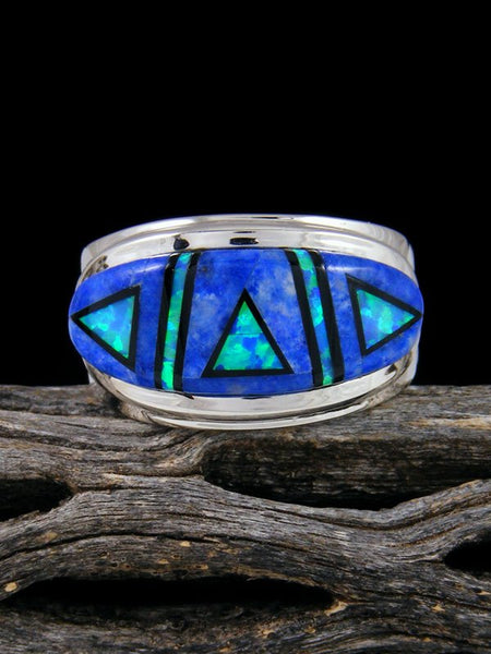 Lapis and Opal Inlay Ring, Size 11 1/2