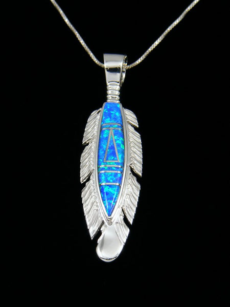 Navajo Opalite Inlay Feather Pendant