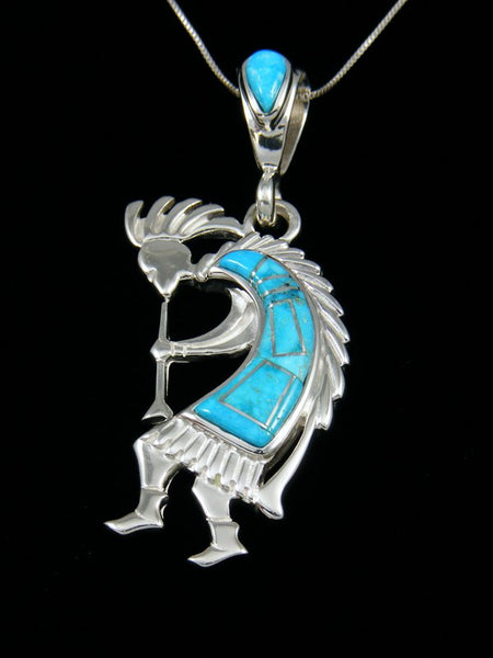 Native American Inlay Turquoise Kokopelli Pendant
