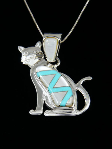 Mother of Pearl and Turquoise Cat Inlay Pendant