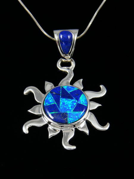 Native American Lapis Inlay Sun Pendant