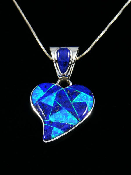 Lapis and Opalite Heart Inlay Pendant