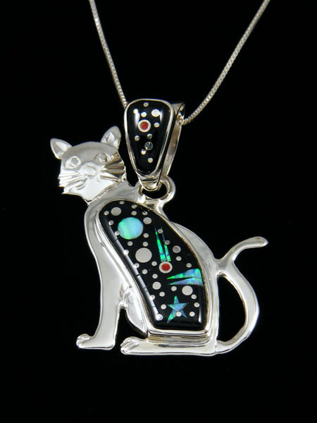 Night Sky Cat Inlay Pendant