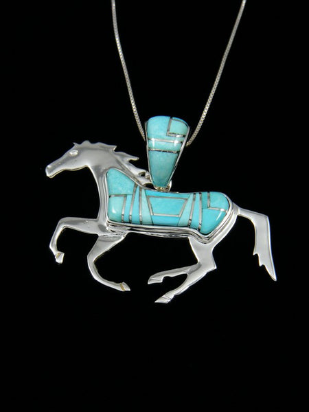 Native American Turquoise Double Sided Horse Pendant