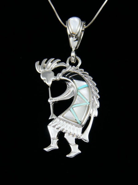 Native American Inlay Kokopelli Pendant