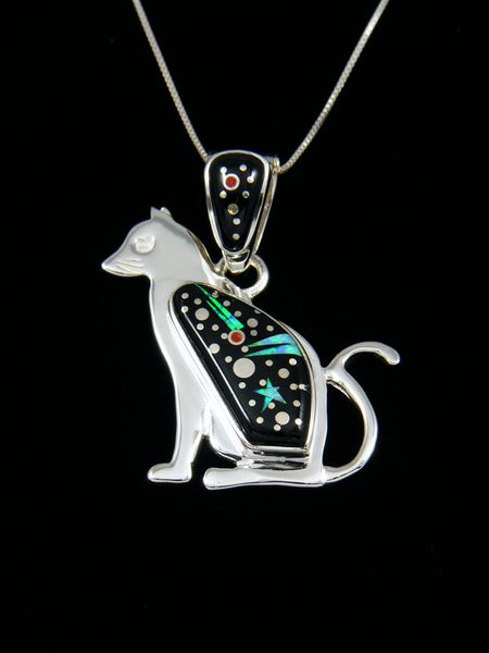 Navajo Cat Night Sky Inlay Pendant