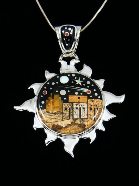 Sun Shaped Night Sky Pueblo Scene Inlay Pendant