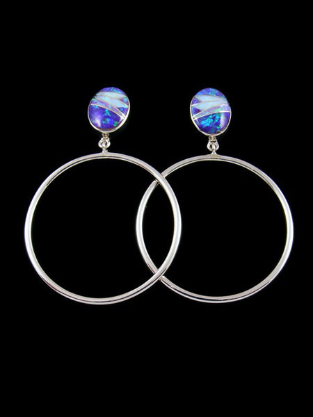 Navajo Opalite Inlay Post Hoop Earrings