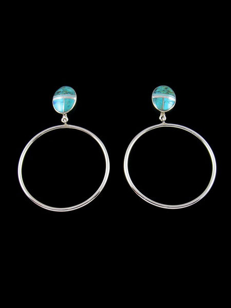 Navajo Turquoise Inlay Post Hoop Earrings