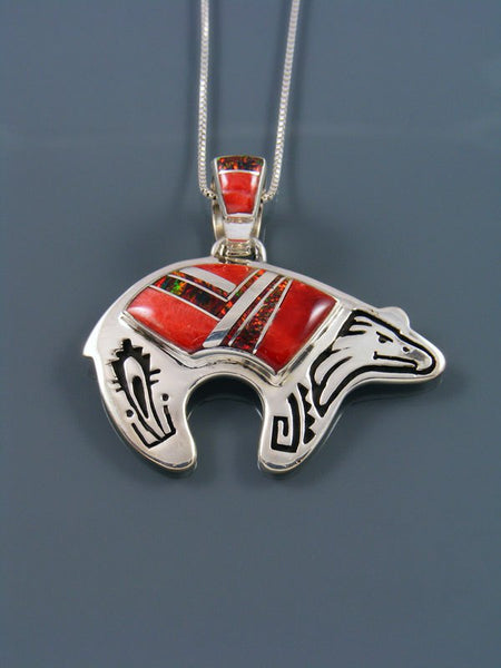 Navajo Spiny Oyster and Opalite Inlay Bear Pendant