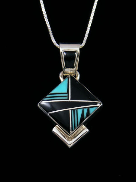 Native American Inlay Turquoise and Onyx Pendant