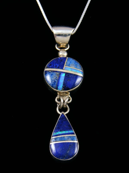 Native American Sterling Silver Lapis and Opalite Inlay Pendant