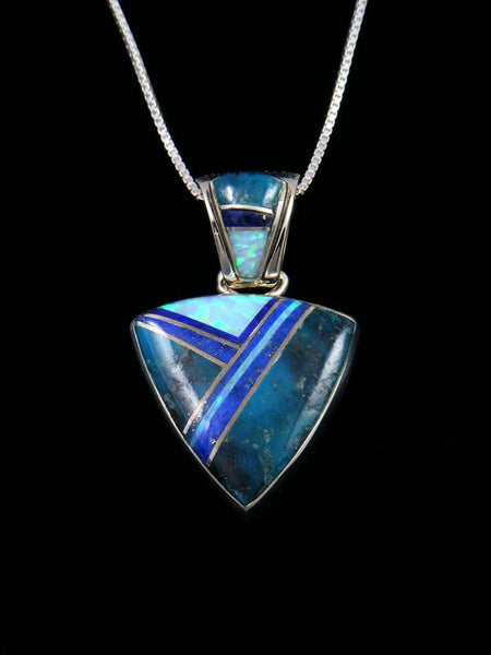 Native American Sterling Silver Lapis and Turquoise Inlay Pendant