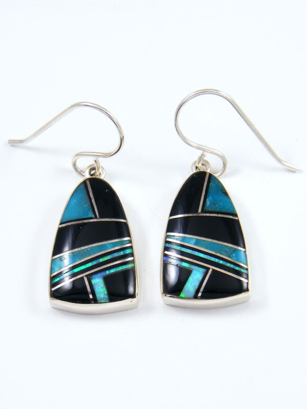 Native American Sterling Silver Onyx and Turquoise Inlay Earrings