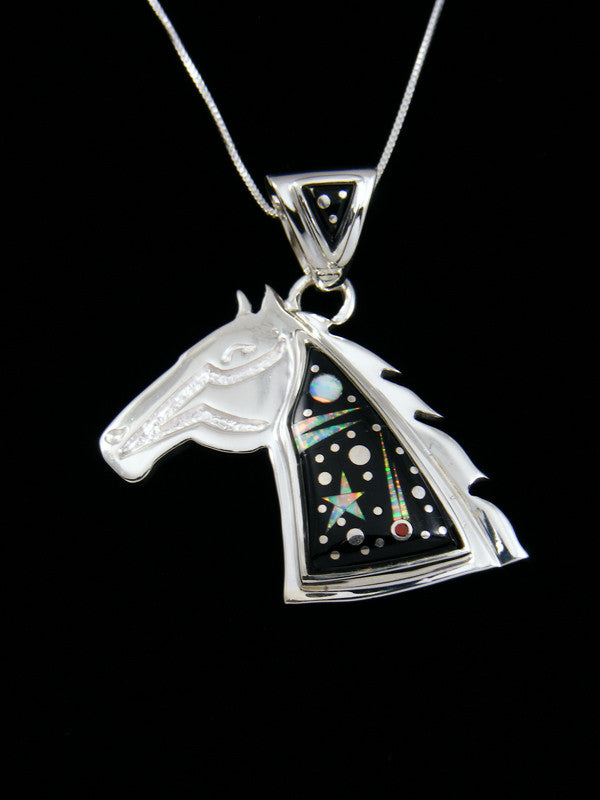Native American Inlay Night Sky Horse Pendant