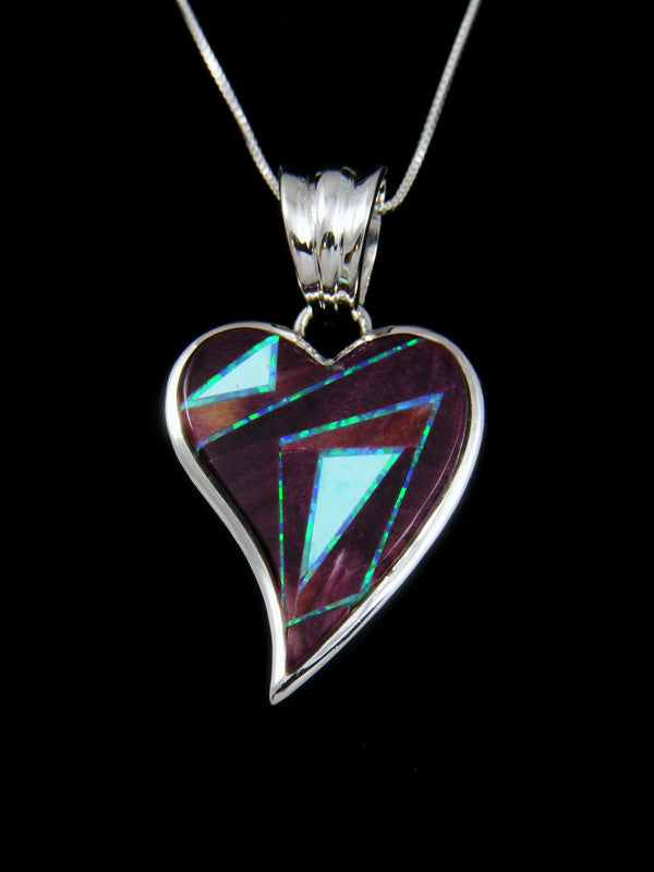 Purple Spiny Oyster Turquoise Inlay Heart Pendant