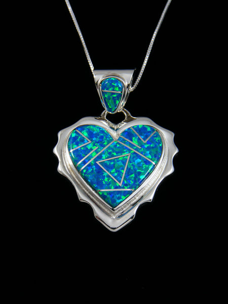 Native American Blue Opalite Inlay Heart Pendant