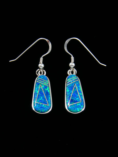 Native American Inlay Blue Opalite Earrings