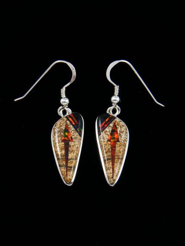 Native American Inlay Jasper Spiny Oyster Earrings