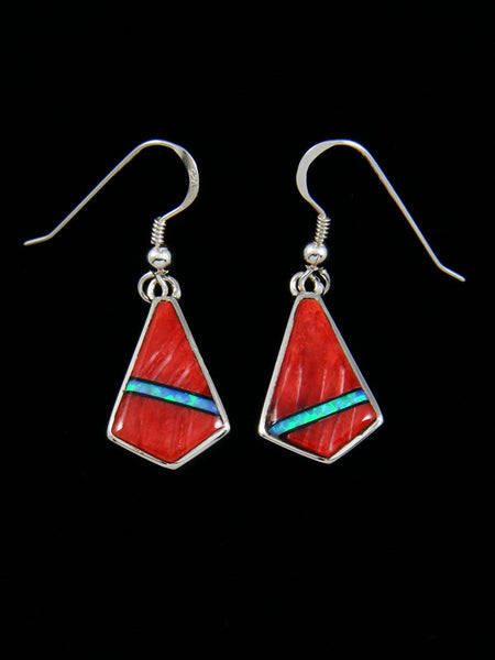 Native American Inlay Spiny Oyster and Opalite Earrings