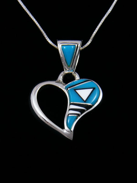 Native American Turquoise Inlay Heart Pendant