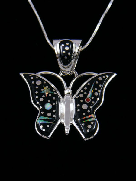 Native American Inlay Night Sky Butterfly Pendant